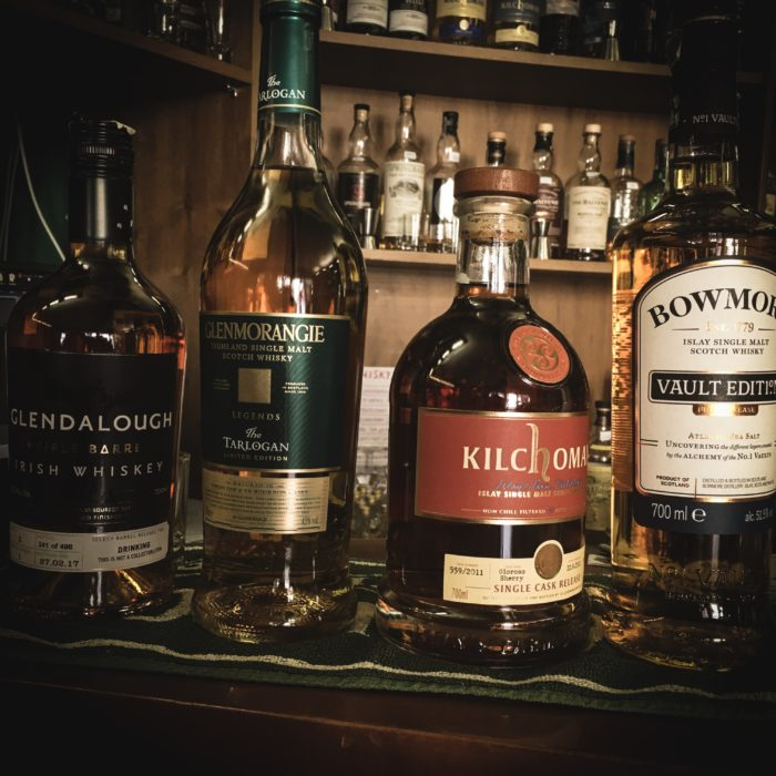 Glendalough, Glenmorangie, kKilchoman, Bowmore